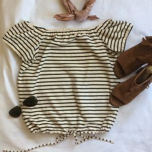 Madewell Melody off the shoulder top striped